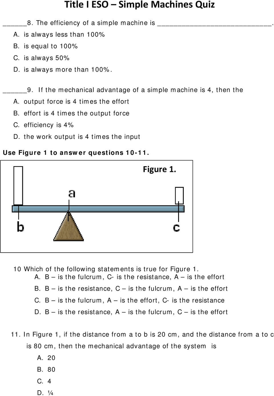 Simple Machine Worksheets Middle School Simple Machines Quiz Pdf Free Download