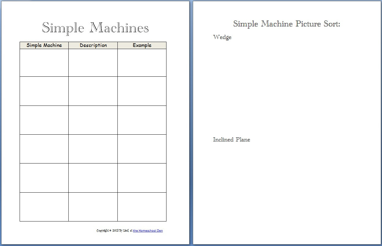 Simple Machine Worksheets Middle School Simple Machines Worksheets for 6th Grade