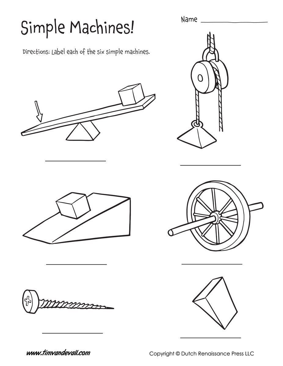 Simple Machine Worksheets Middle School Six Simple Machines Worksheet Tim S Printables