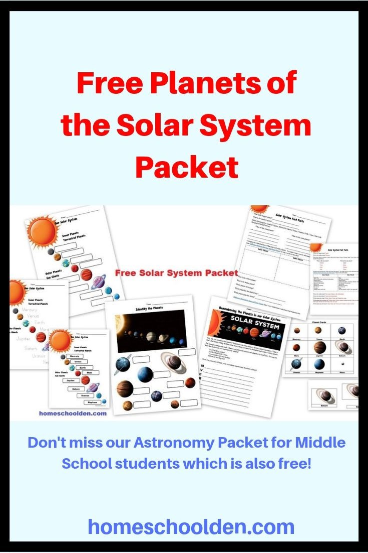Solar System Worksheet Middle School Free Planets Of the solar System Worksheets