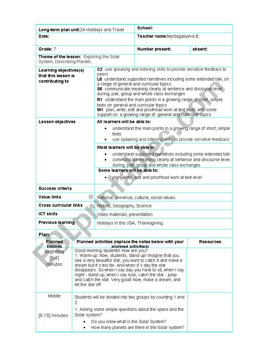Solar System Worksheet Middle School Planets Lesson Plan Esl Worksheet by Bakhyt