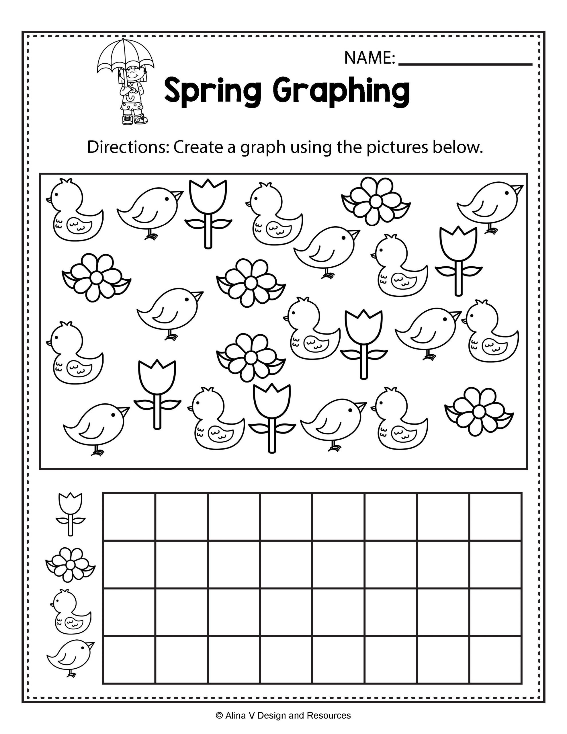 Spring Worksheets for 1st Grade Spring Graphing Spring Math Worksheets and Activities for