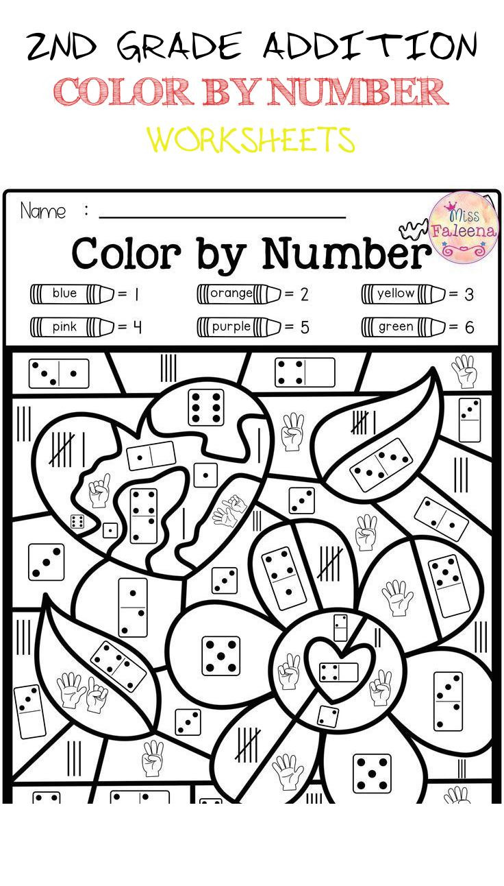 Spring Worksheets for 2nd Grade 2nd Grade Addition Color by Number Worksheets Spring Color