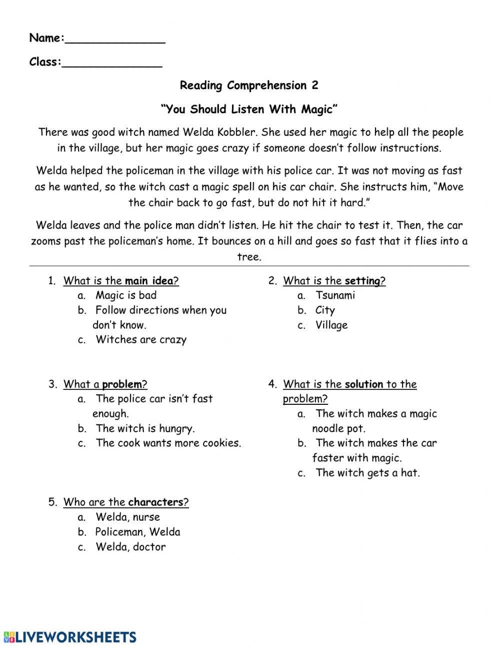 Story Elements Worksheets 2nd Grade Reading Prehension Follow Directions Interactive