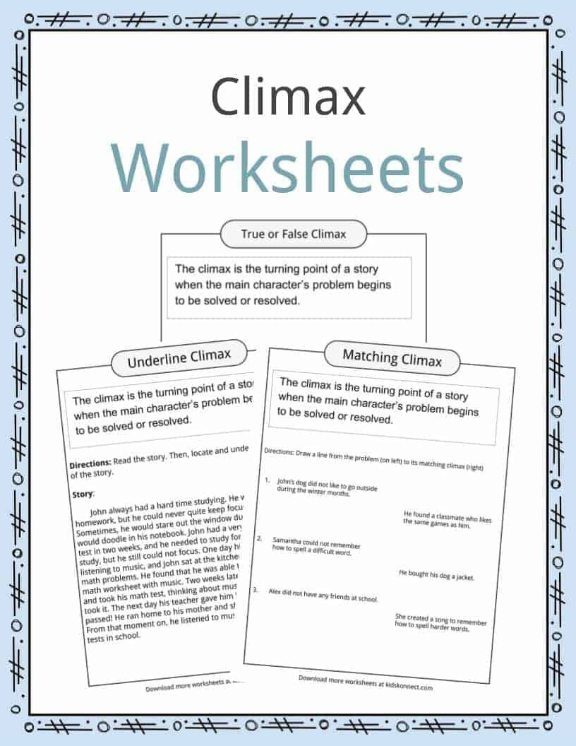 Story Elements Worksheets 4th Grade Climax Definition Worksheets & Examples In Text for Kids