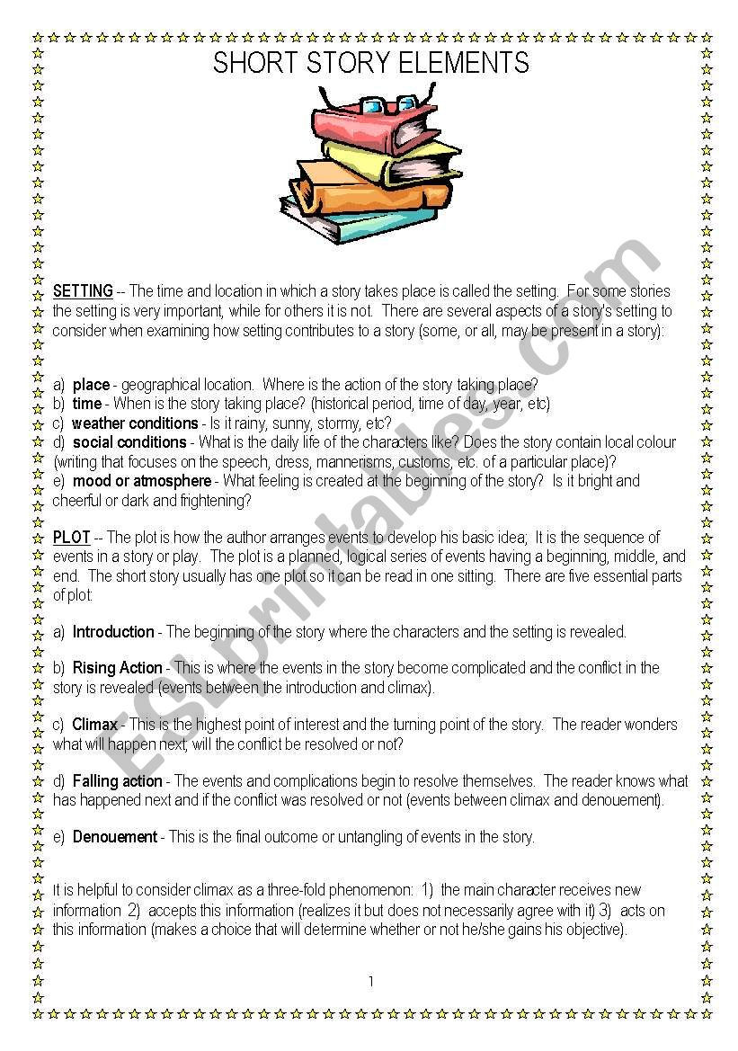Story Elements Worksheets 4th Grade Short Story Elements Esl Worksheet by Vnstdn