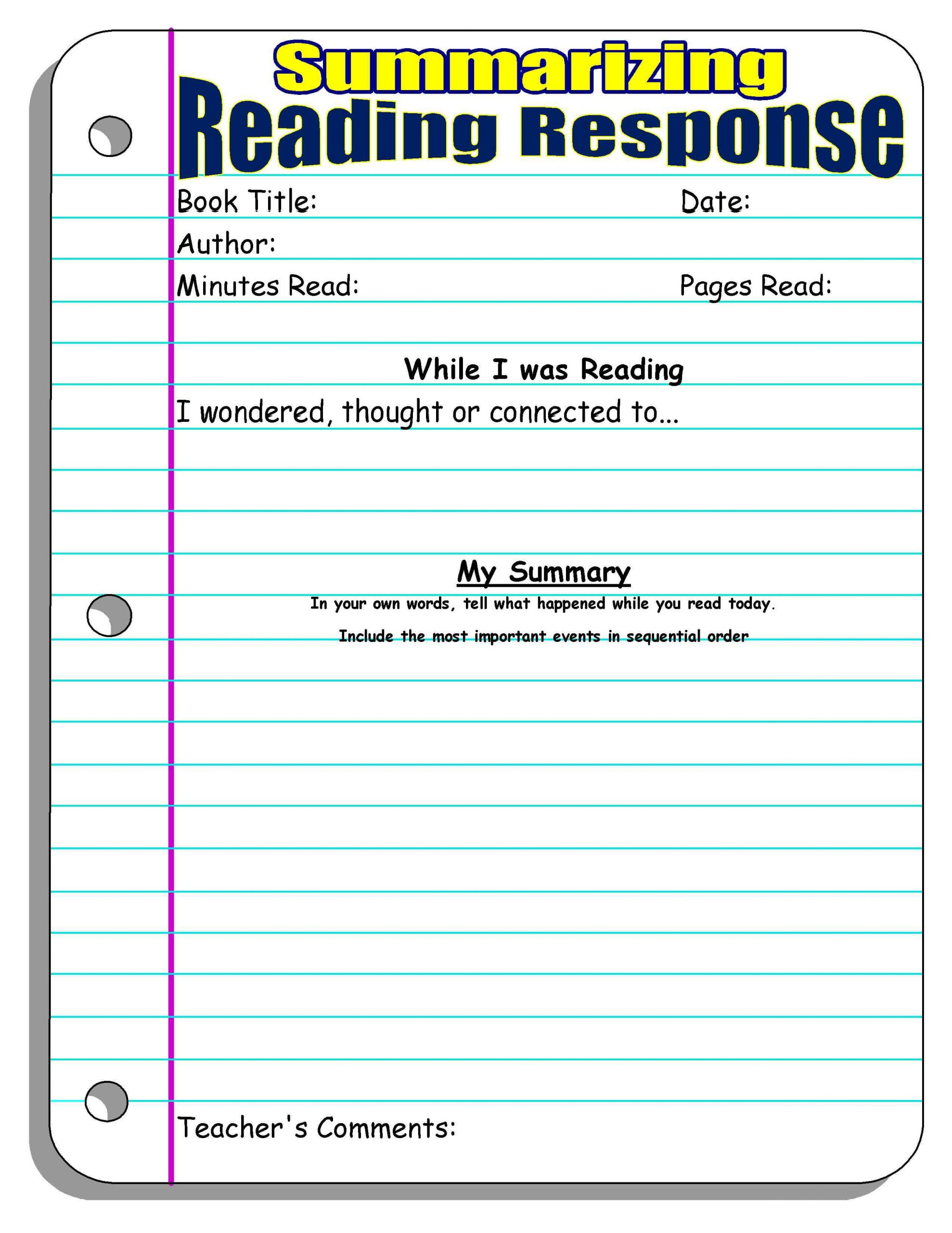 Summarizing Worksheets 2nd Grade Reading Response Worksheets 2nd Grade