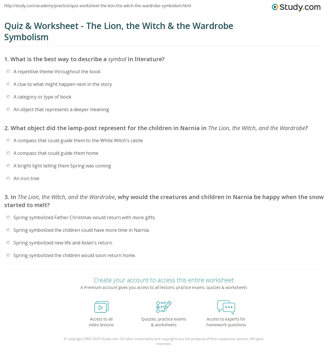 Symbolism Worksheets for Middle School Quiz & Worksheet the Lion the Witch & the Wardrobe