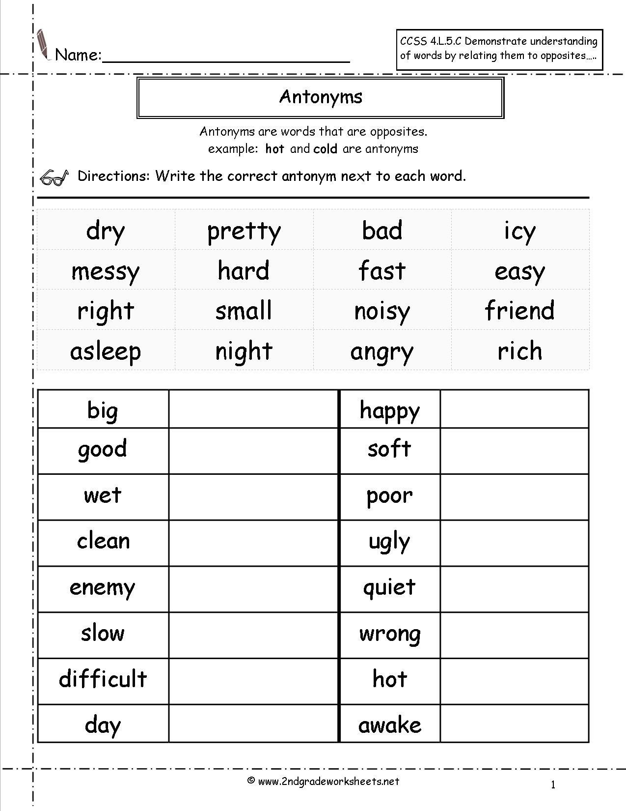 Synonym Worksheet for 2nd Grade Antonyms Worksheet
