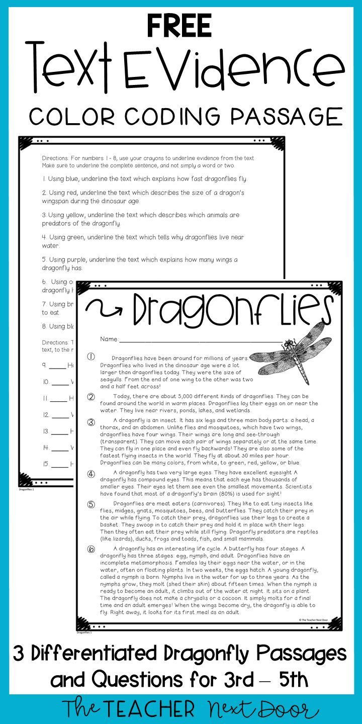 Text Evidence Worksheet 3rd Grade Text Evidence Color Coding Freebie