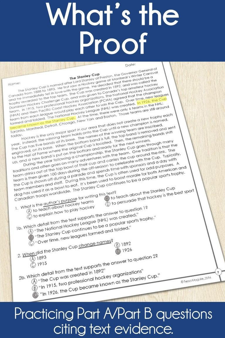 Text Evidence Worksheet 3rd Grade Text Evidence Reading Passages with Part A Part B Questions
