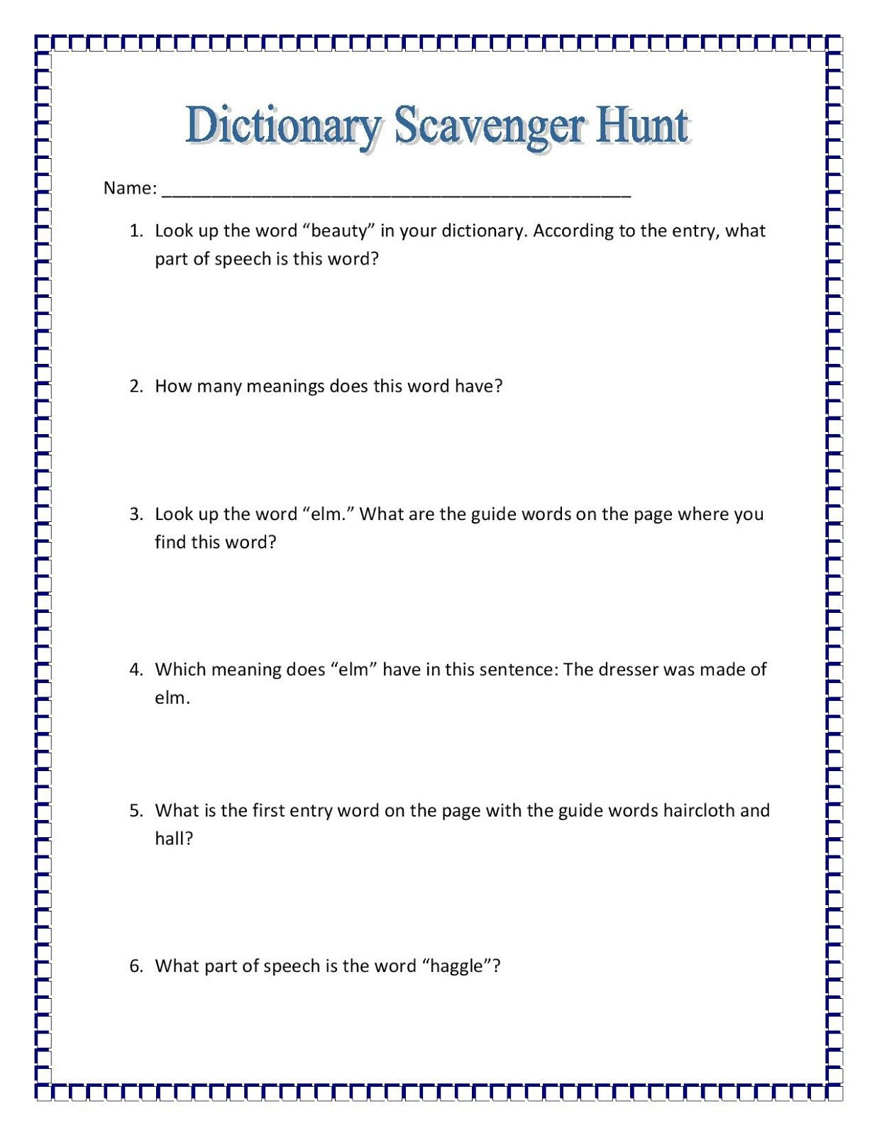 Text Feature Worksheet 3rd Grade Maniac Monday Dictionary Scavenger Hunt