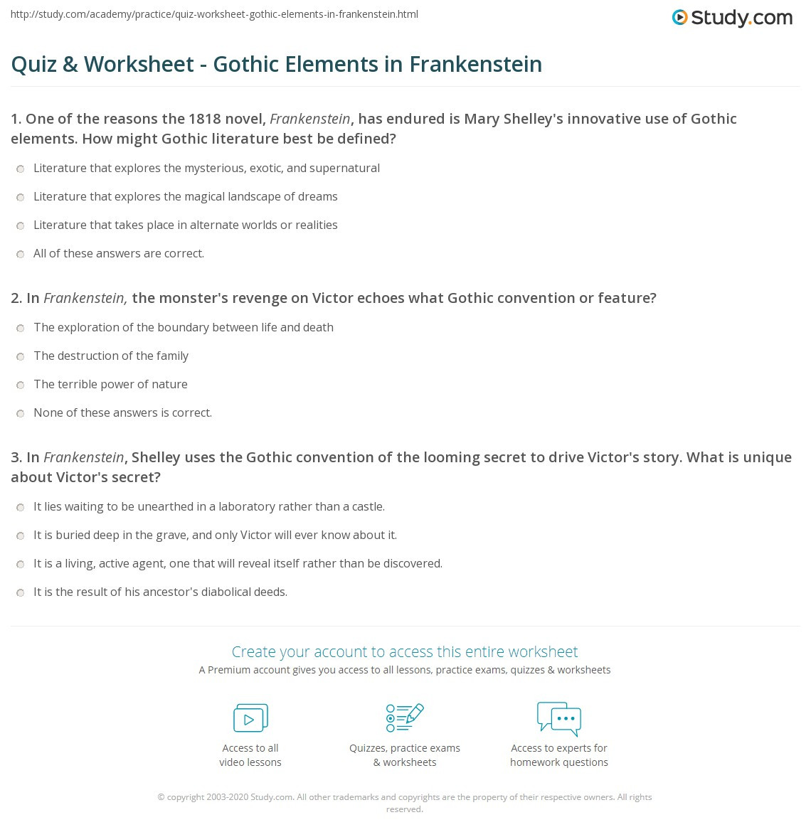 Text Feature Worksheet 3rd Grade Quiz Worksheet Gothic Elements In Frankenstein Study