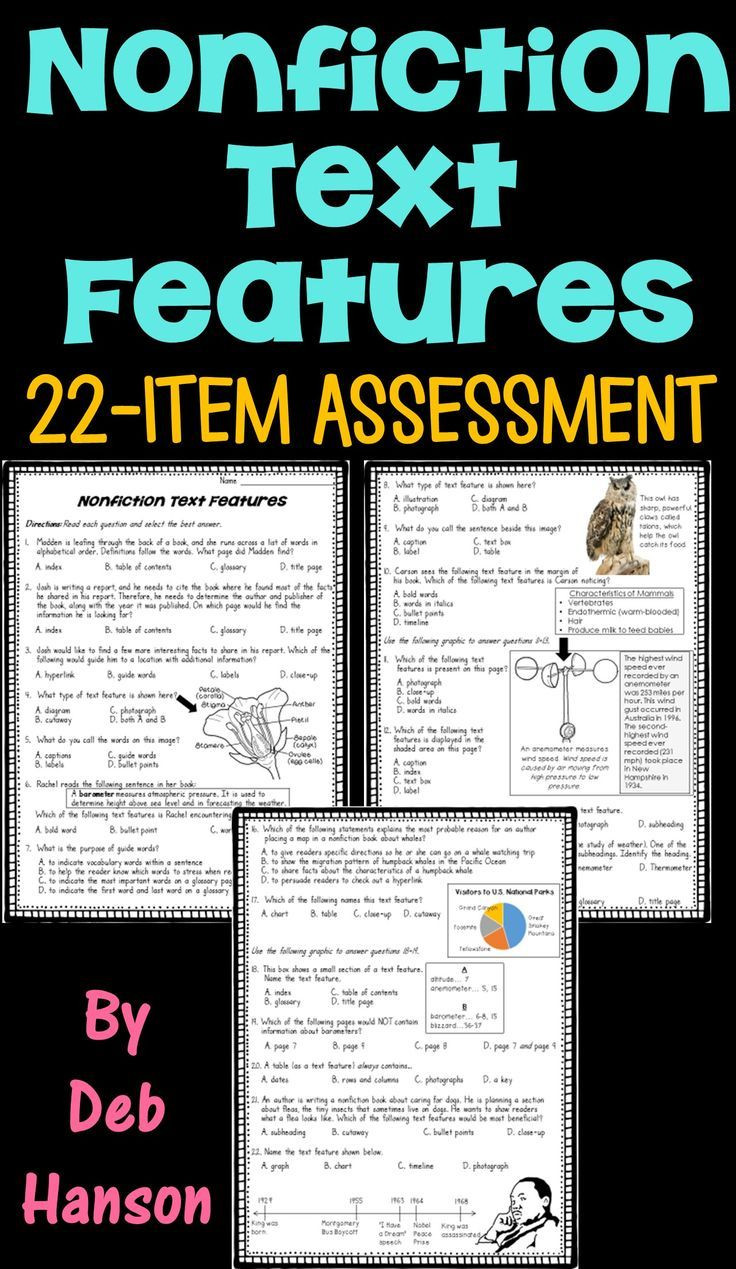 Text Feature Worksheets 3rd Grade Nonfiction Text Feature assessment or Worksheet