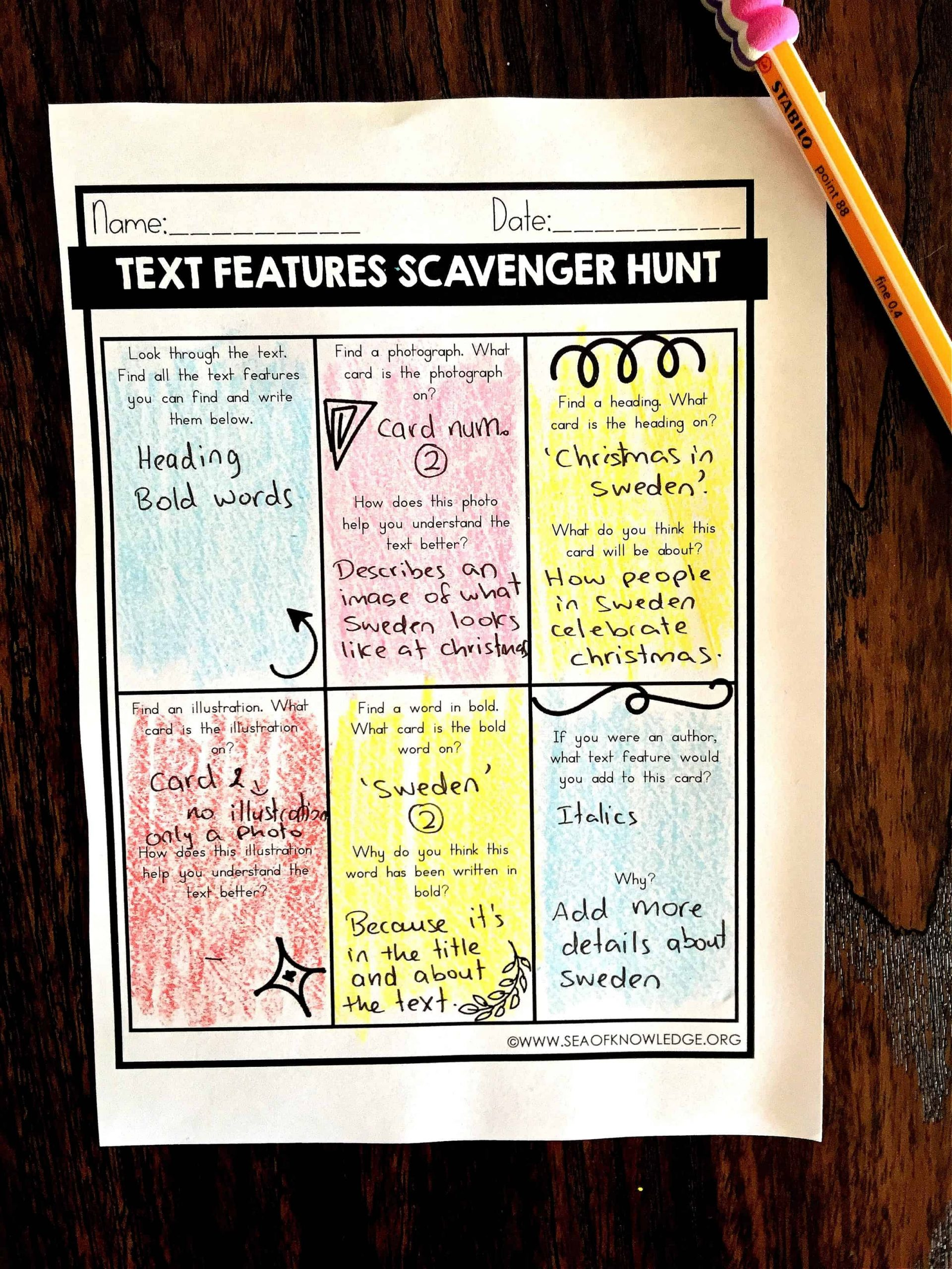 Text Feature Worksheets 3rd Grade Nonfiction Text Features Worksheets Free Sea Of Knowledge