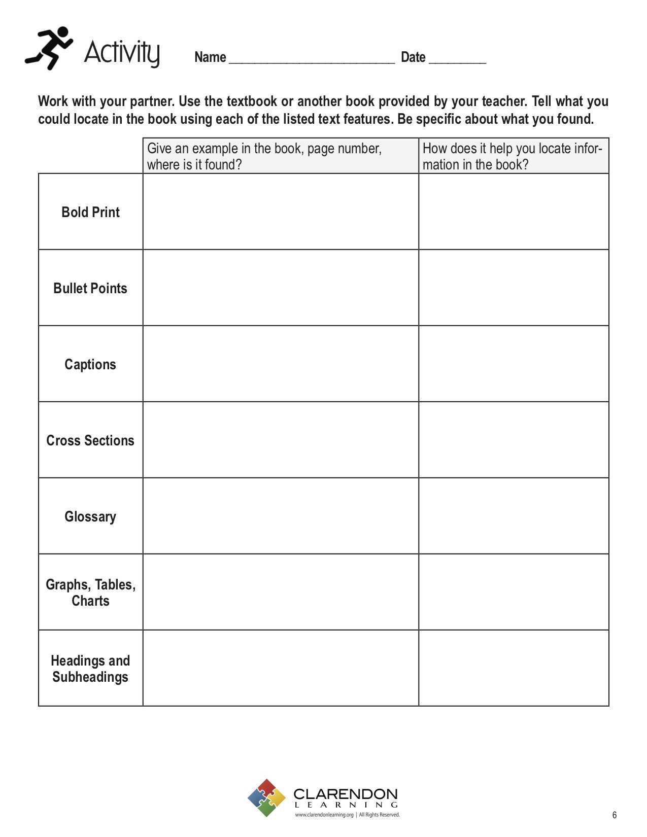 Text Features Worksheet 5th Grade Text Features for Locating Information Lesson Plan