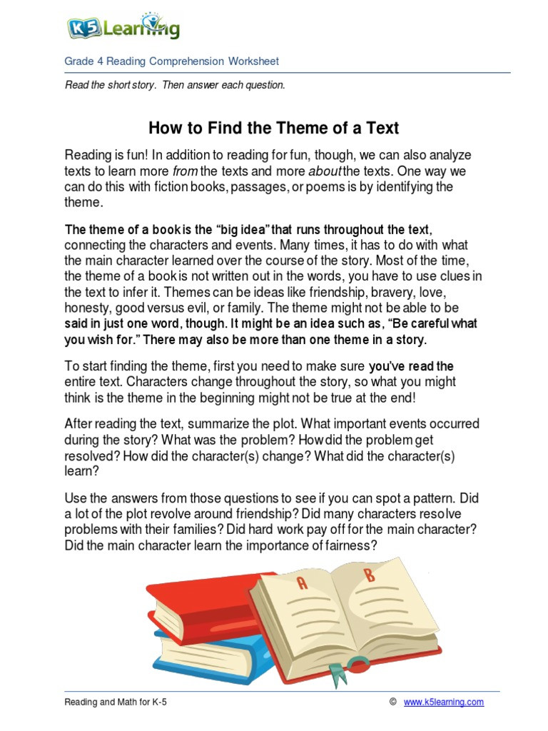 Theme Worksheet 4th Grade 4th Grade 4 Reading Find theme Of Text Pdf