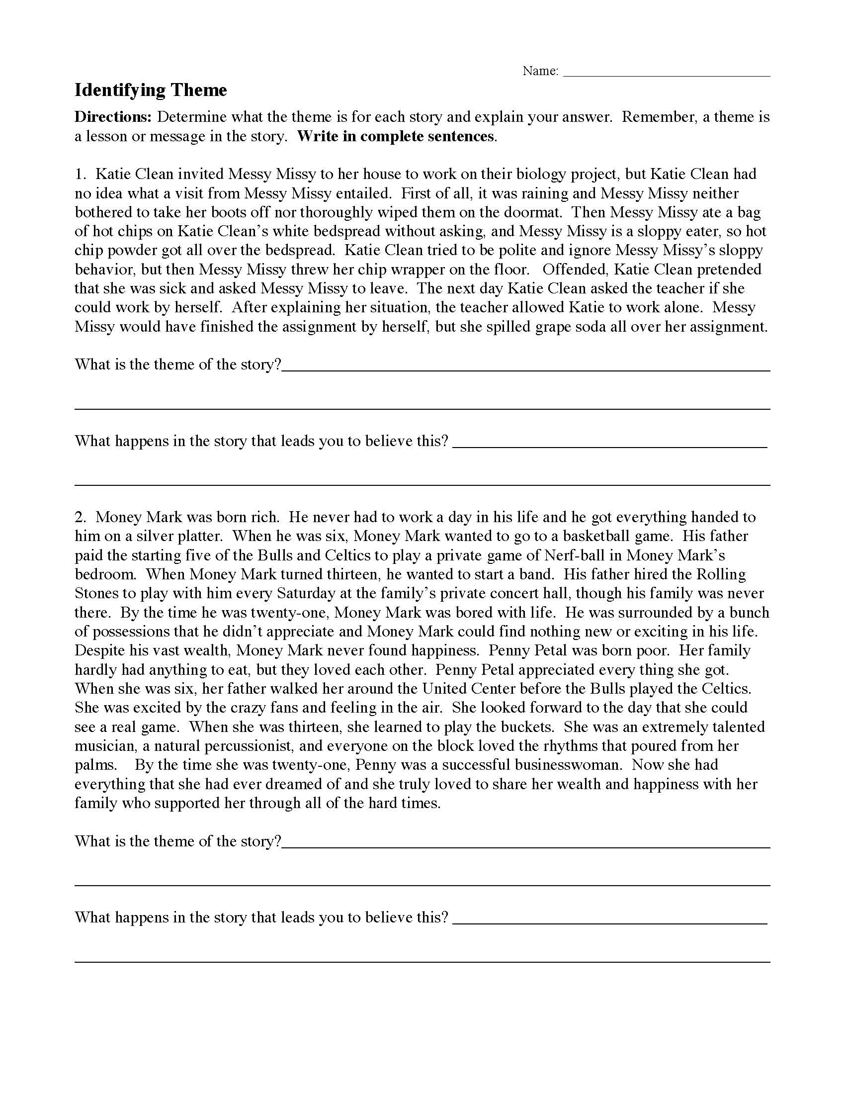 Theme Worksheet 4th Grade theme or Author S Message Worksheets