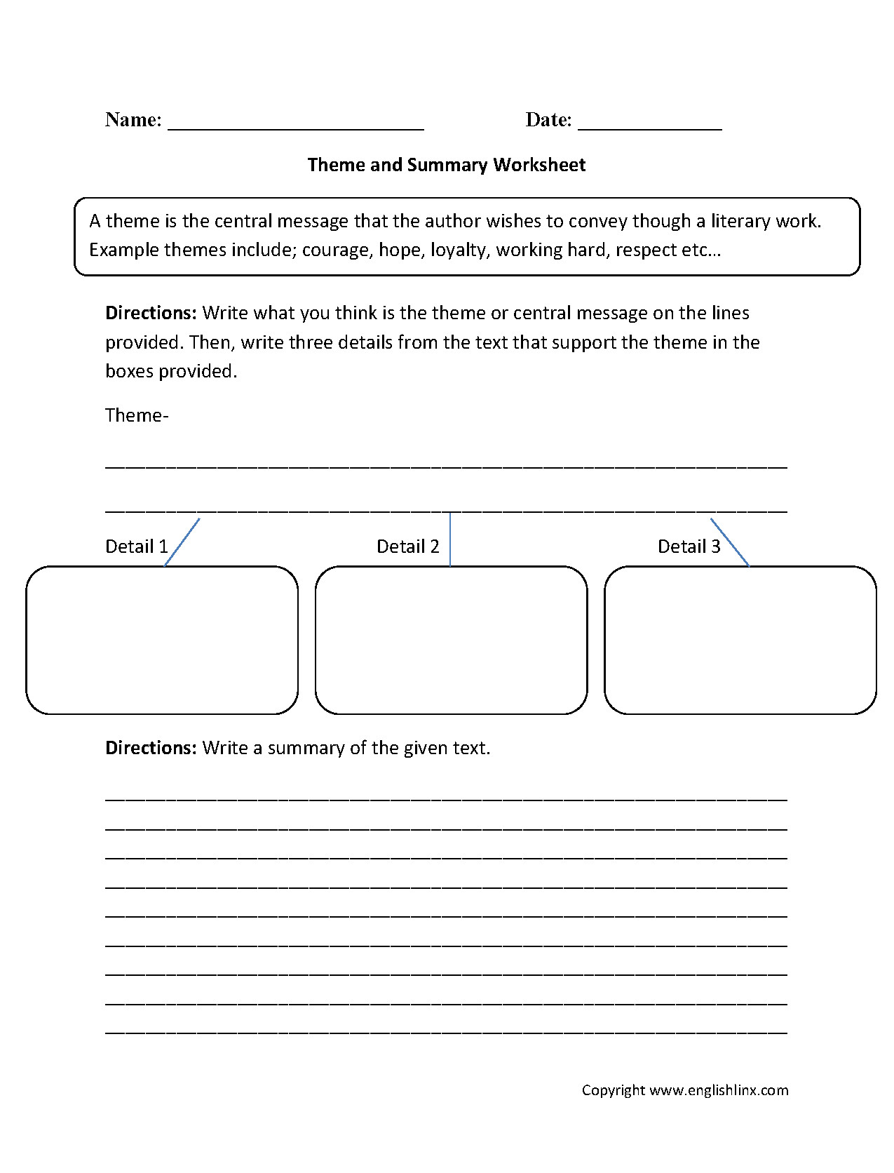 Theme Worksheet 4th Grade theme Worksheet Excel