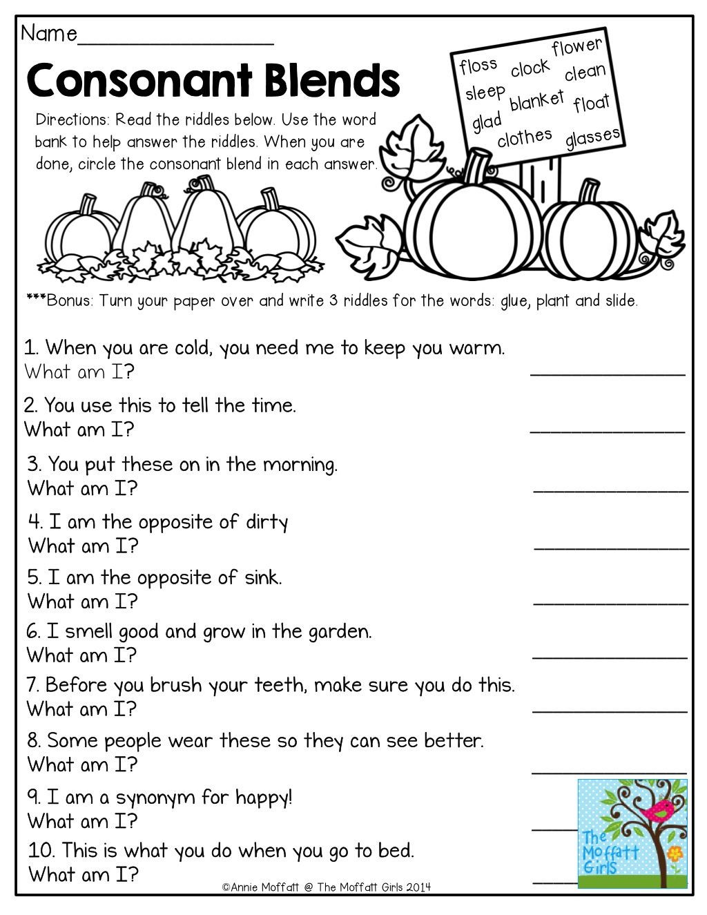 Third Grade Phonics Worksheets Consonant Blends Mystery Words Read the Clues and Write the