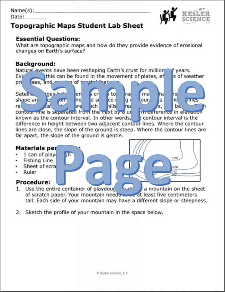 Topographic Map Worksheet Middle School topographic Maps Inquiry Lab
