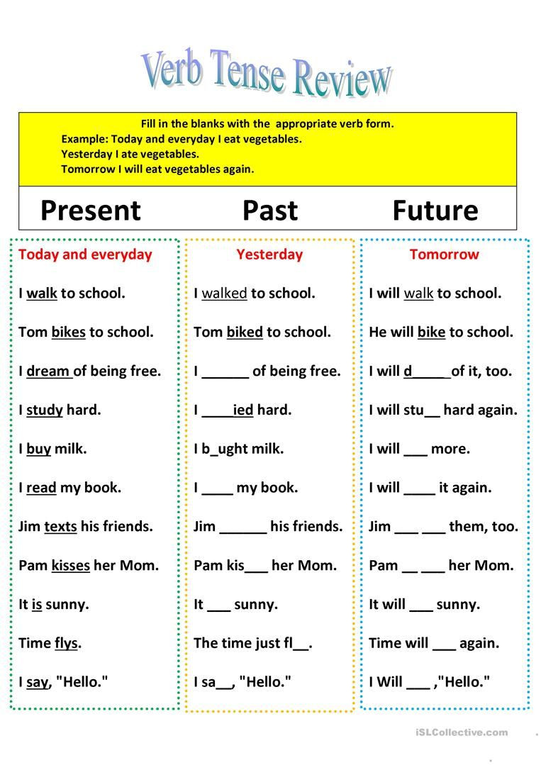 Verb Tense Worksheets 4th Grade Revision Of Verb Tenses Present Past and Future Worksheet