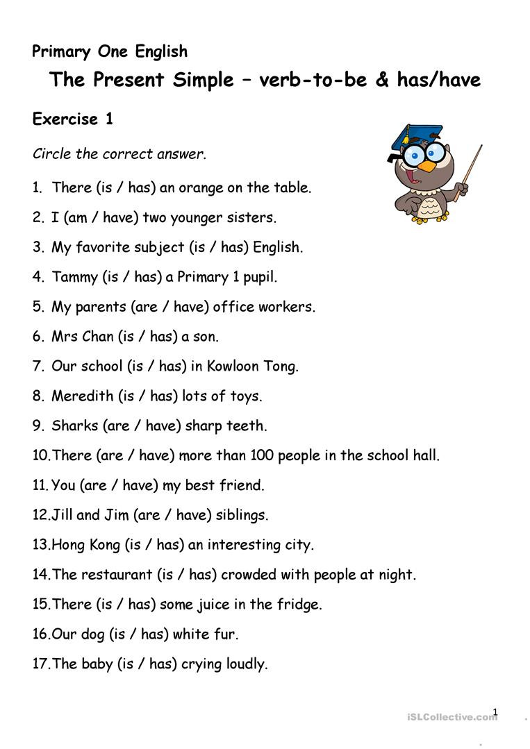 Verb Tense Worksheets 4th Grade Simple Present Tense Verb to Has Have English Esl Verbs
