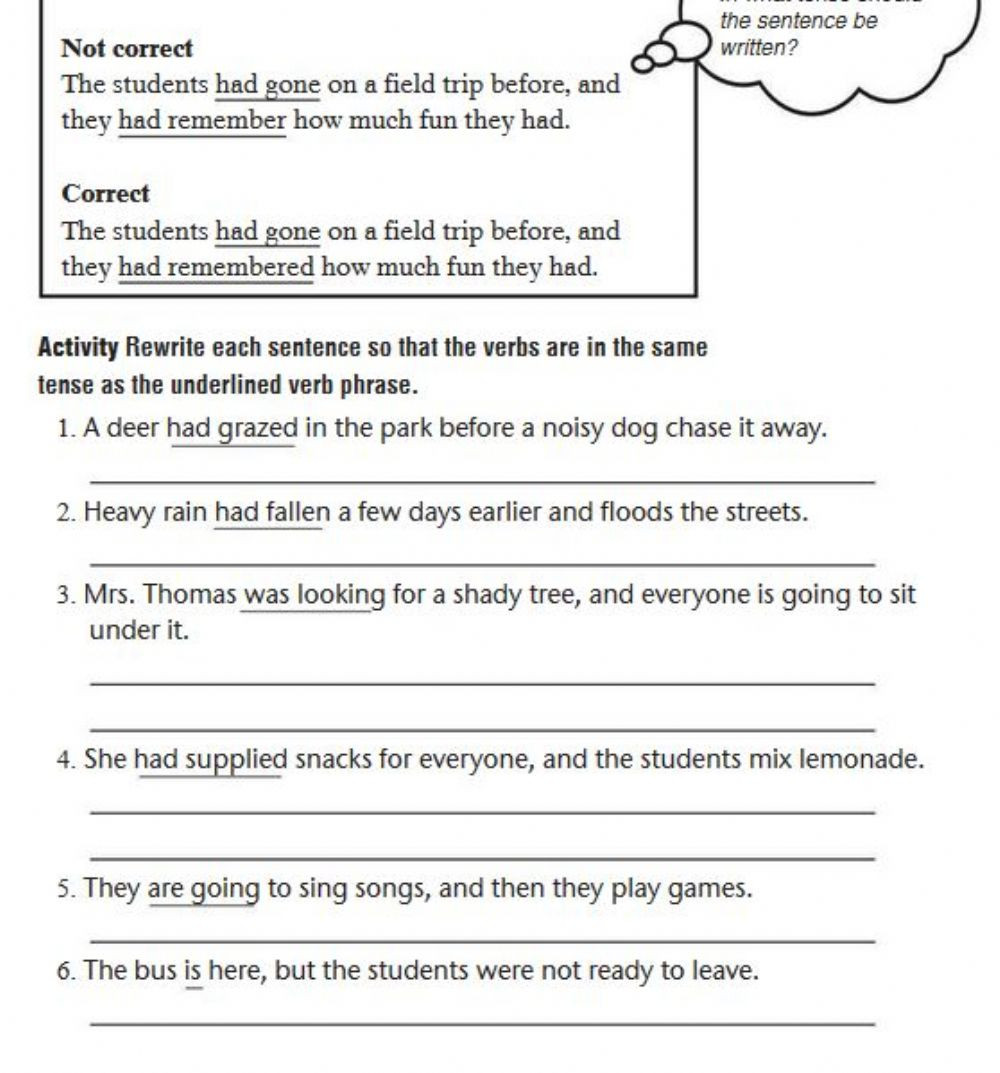 Verb Tense Worksheets 4th Grade Using Consistent Verb Tenses Interactive Worksheet Teaching
