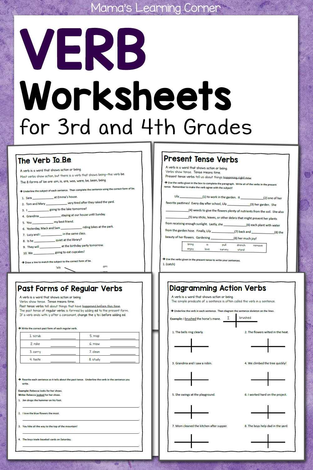 Verb Tense Worksheets 4th Grade Verb Worksheets for 3rd and 4th Grades Mamas Learning Corner