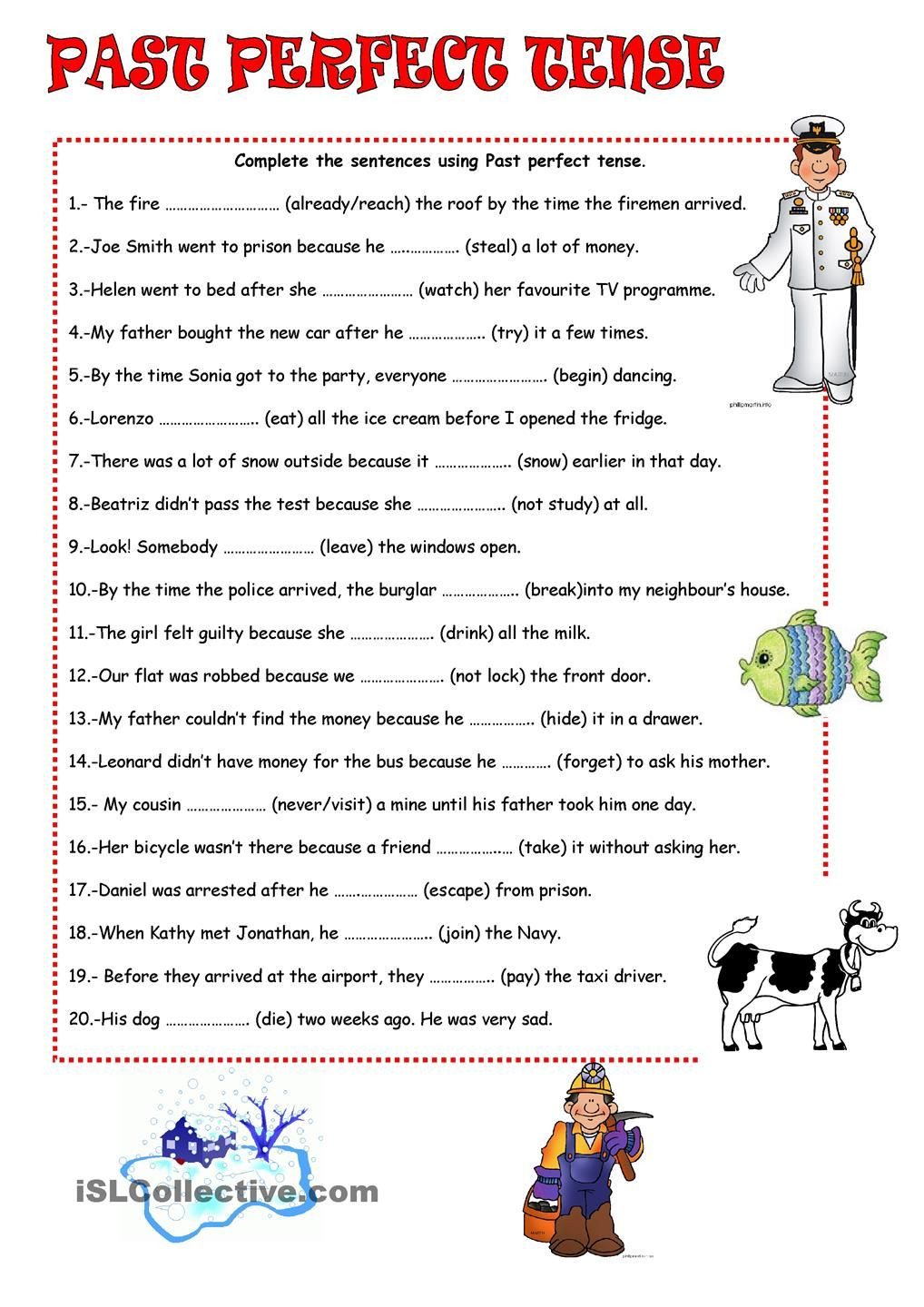 Verb Tense Worksheets 5th Grade Past Perfect Tense
