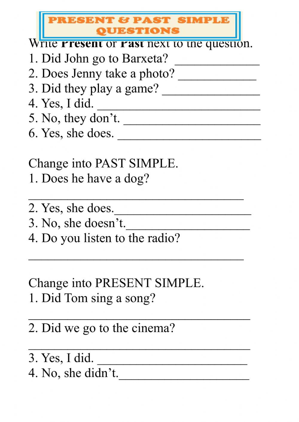 Verb Tense Worksheets 5th Grade Present and Past Simple Questions Interactive Worksheet