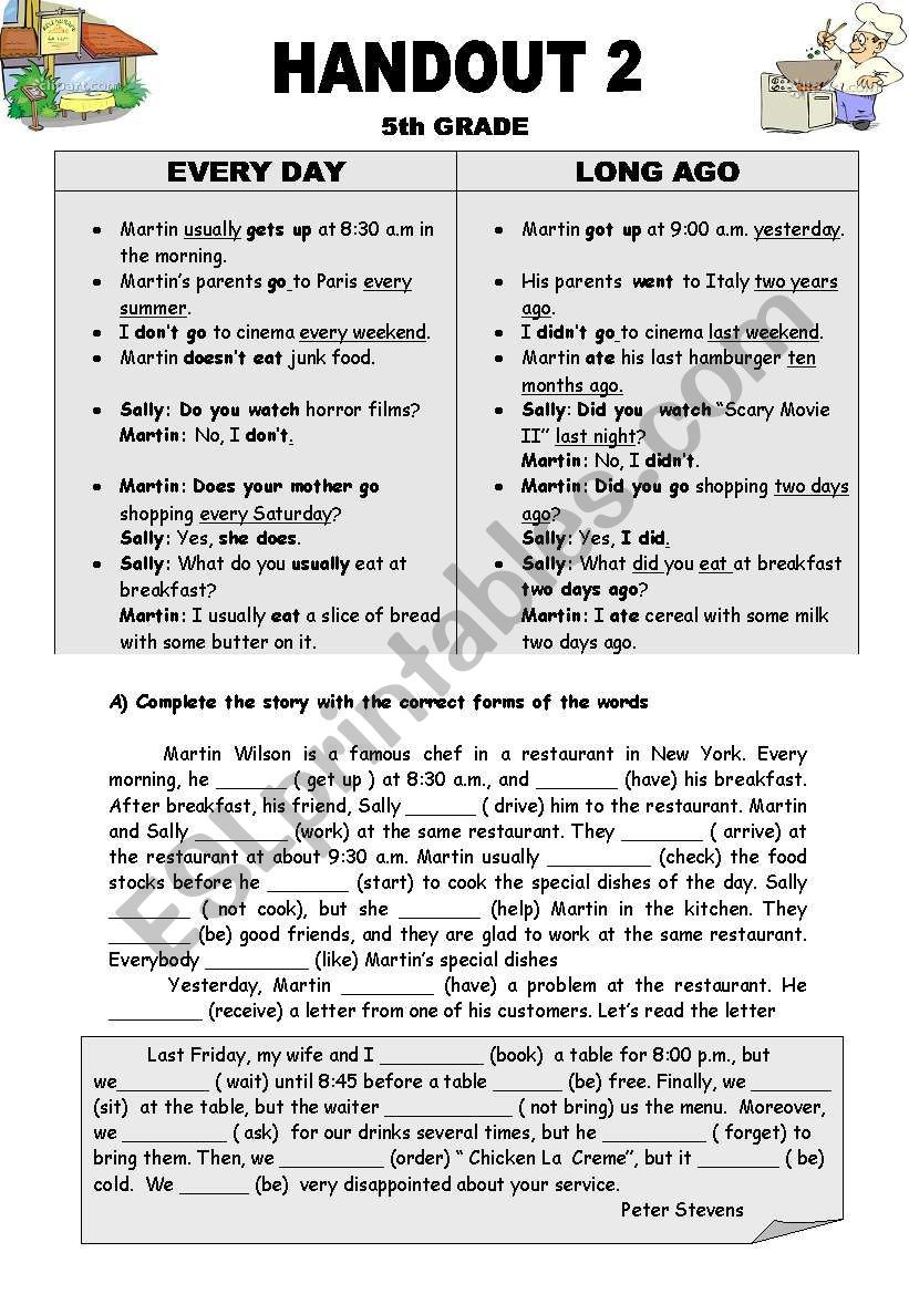 Verb Tense Worksheets 5th Grade Present Simple Vs Past Simple Tense Esl Worksheet by Miss