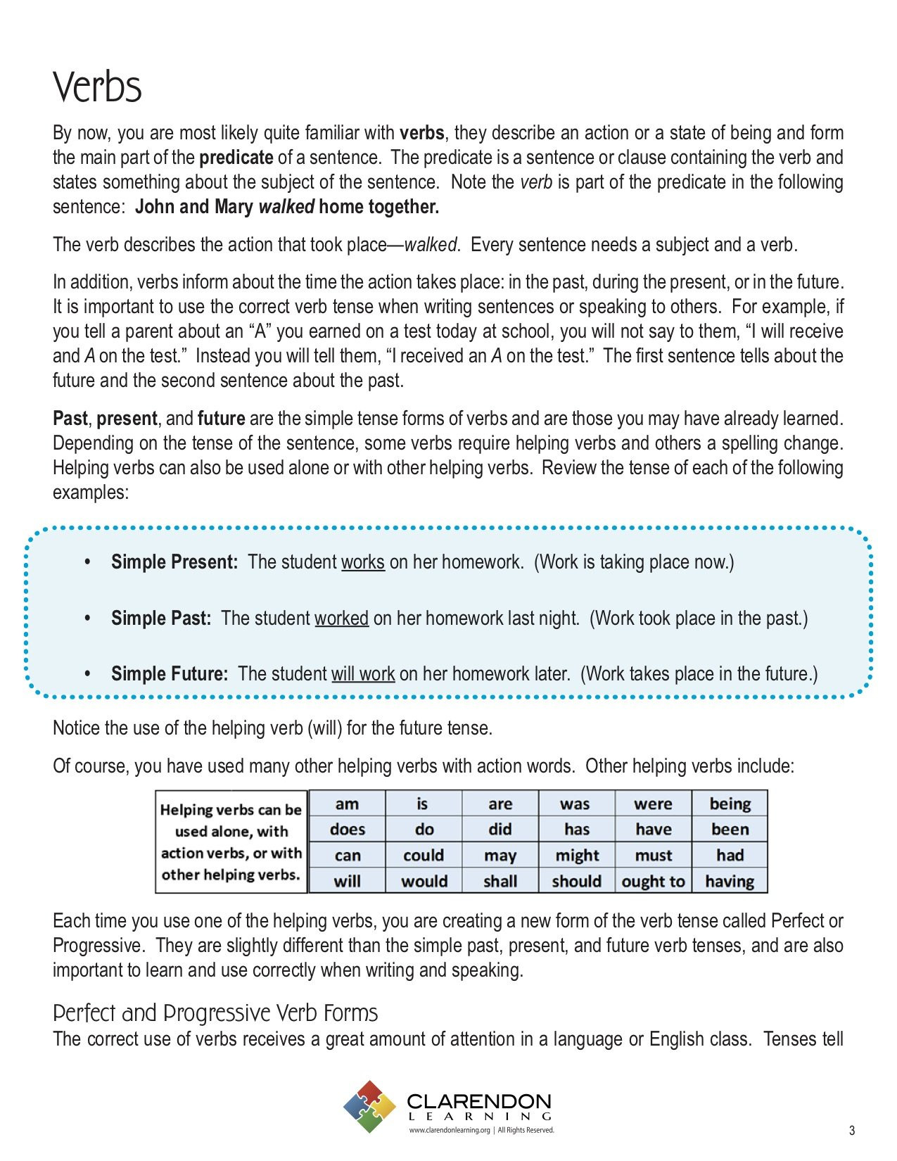 Verb Tense Worksheets 5th Grade Verb Tenses Lesson Plan