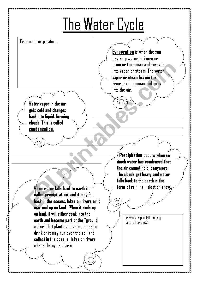 Water Cycle Worksheet 4th Grade Water Cycle Esl Worksheet by Kdowns02