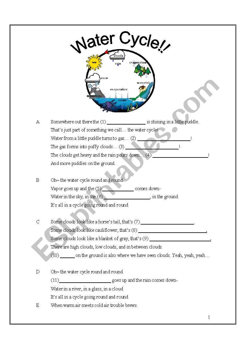 Water Cycle Worksheet 4th Grade Water Cycle song with Fill In the Blanks Esl Worksheet
