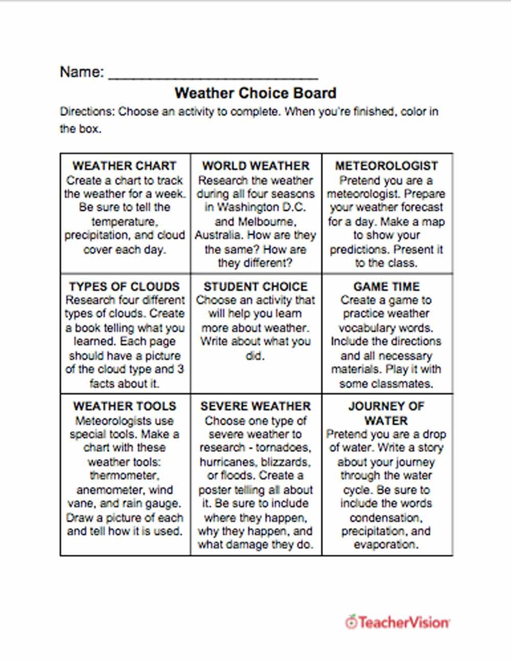 Water Cycle Worksheet 4th Grade Weather Choice Board Teachervision