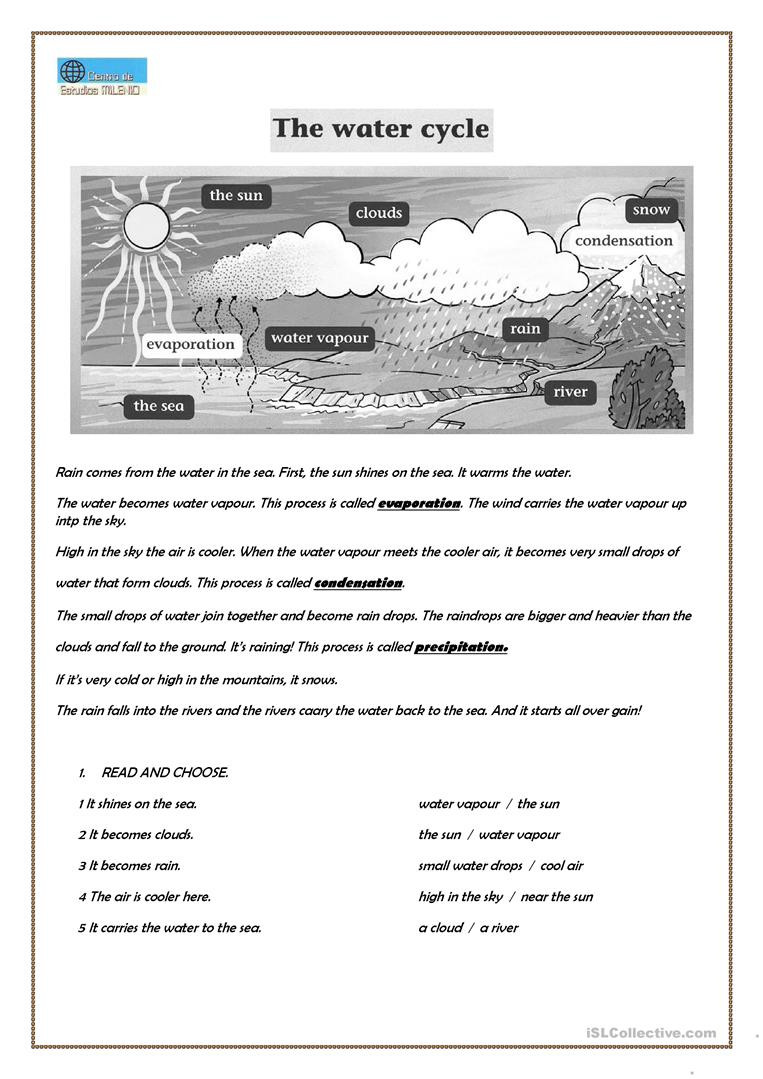 Water Cycle Worksheet 5th Grade English Esl Water Cycle Worksheets Most Ed 18