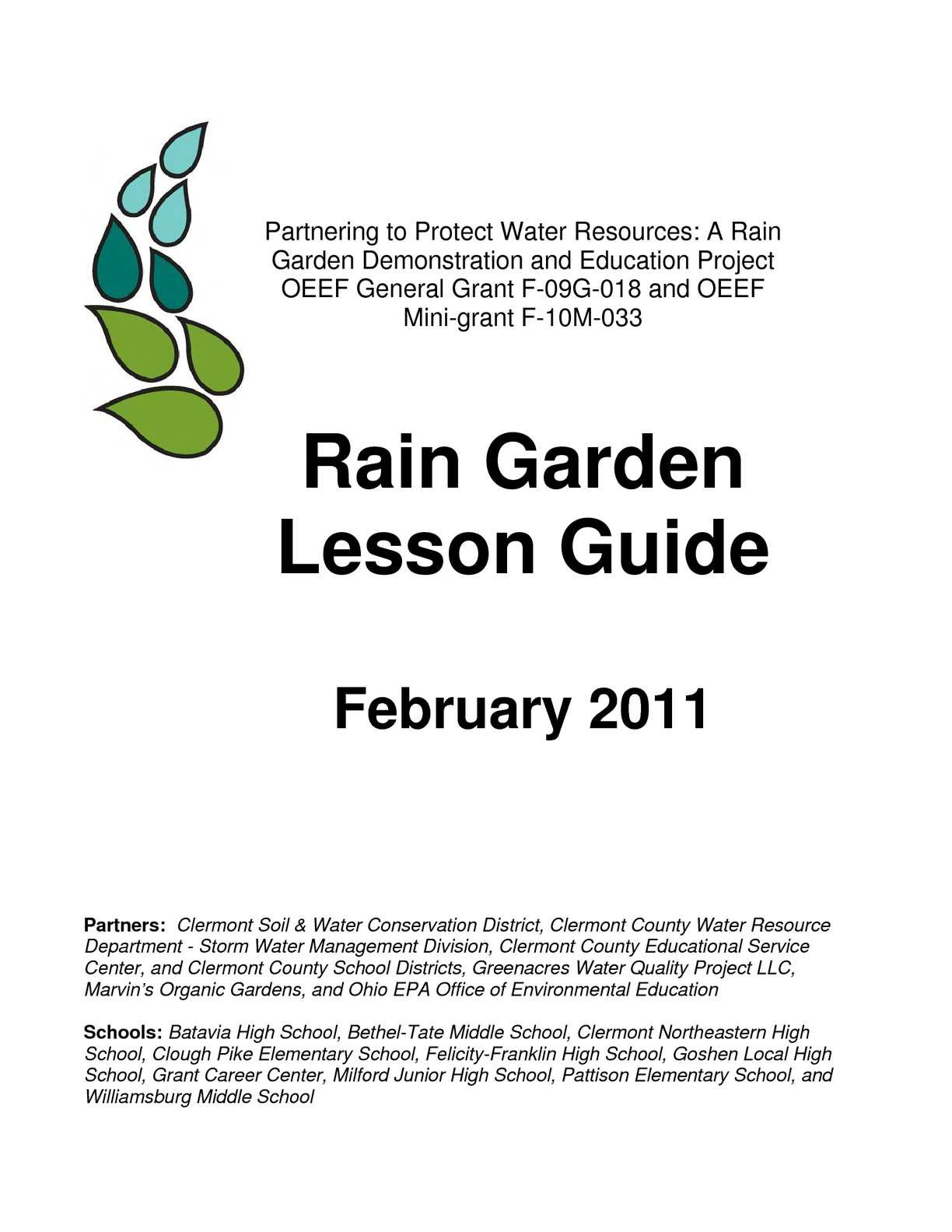 Water Quality Worksheet Middle School Calaméo Oh Rain Garden Lesson Guide for Schools Grades 3 12