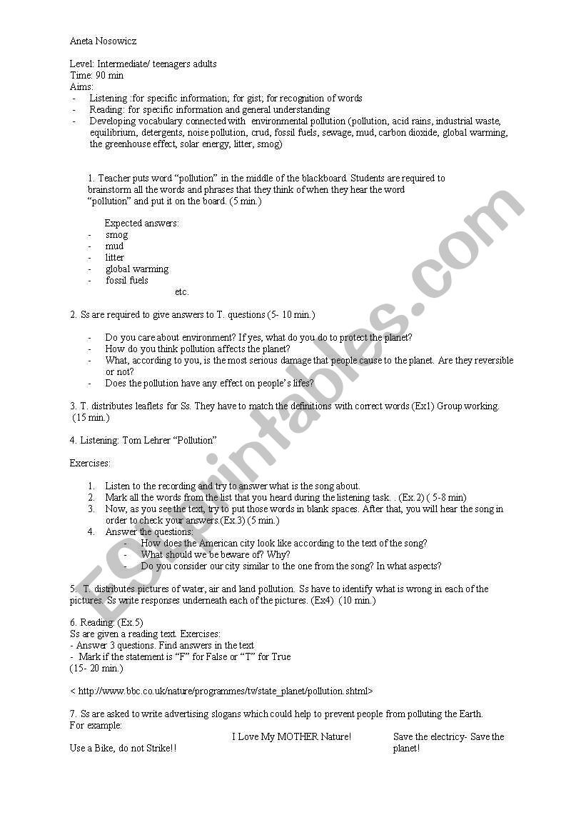 Water Quality Worksheet Middle School Vocabulary Pollution Lesson Plan Esl Worksheet by Anetka1003