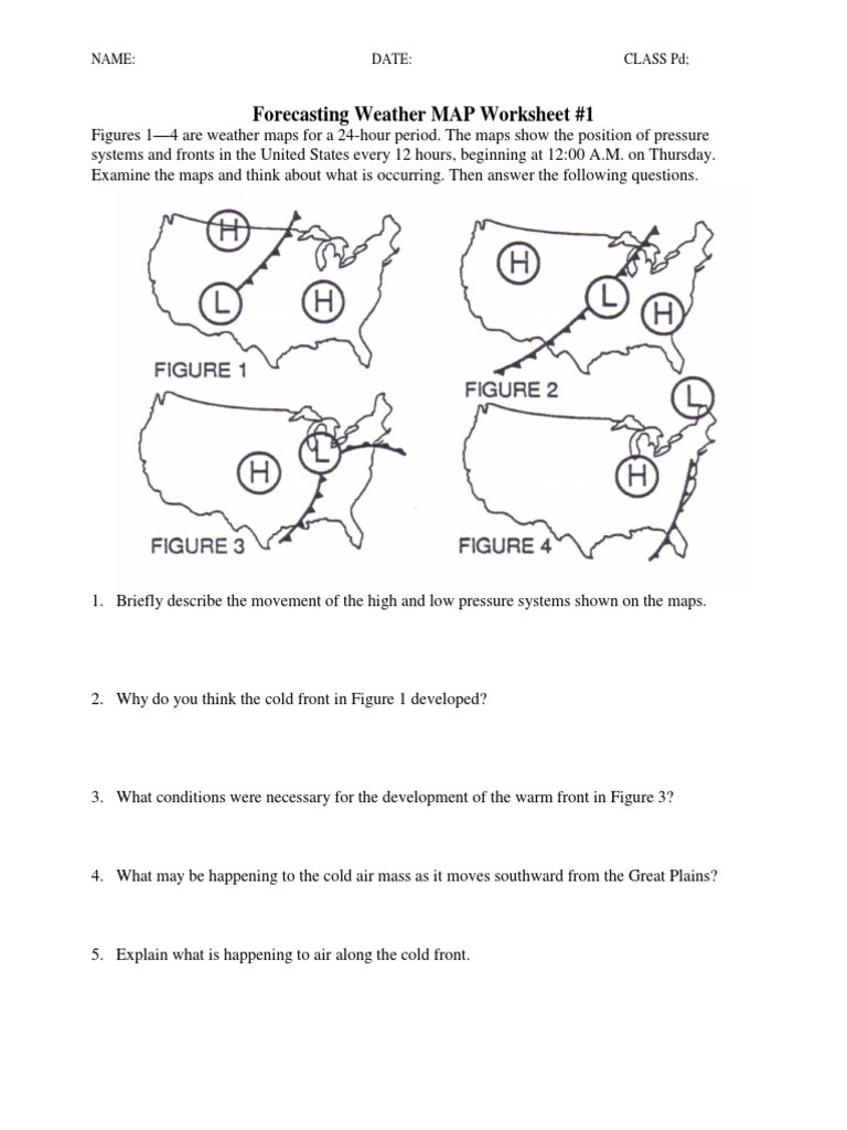 Weather Map Worksheet Middle School forecasting the Weather Worksheet Worksheet List